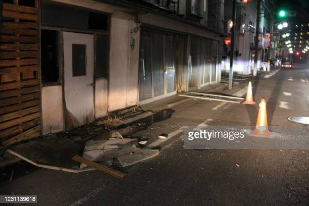 Damaged buildings are seen in Fukushima on February 13, 2021 after a strong 7.1-magnitude earthquake struck late off the eastern coast of Japan but...