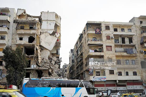 Damaged buildings are seen on January 30 2015 in Apello Syria