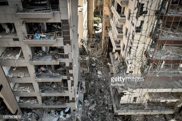 Damaged buildings are seen the day after a massive explosion at the port on August 5, 2020 in Beirut, Lebanon. According to the Lebanese Red Cross,...
