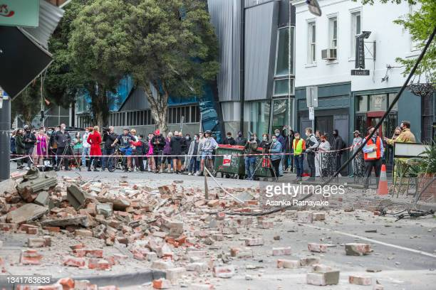 Damaged buildings following an earthquake are seen along Chapel Street on September 22, 2021 in Melbourne, Australia. A magnitude 6.0 earthquake has...