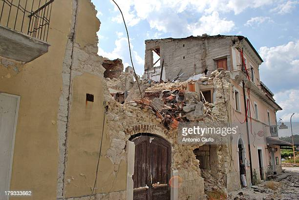 Damaged buildings following the 2009 earthquake. The L'Aquila earthquake of 2009 consists of a series of seismic events, which began in December 2008...