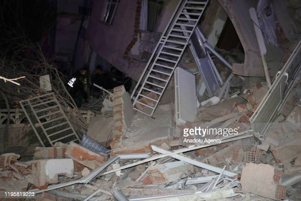 Damaged buildings in Sursuru neighborhood are seen after a 68magnitude earthquake jolted eastern Turkish province of Elazig on January 24 2020 Search...
