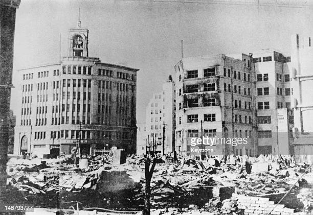 Damaged buildings in the Ginza district of Tokyo after American airraids on the city June 1945