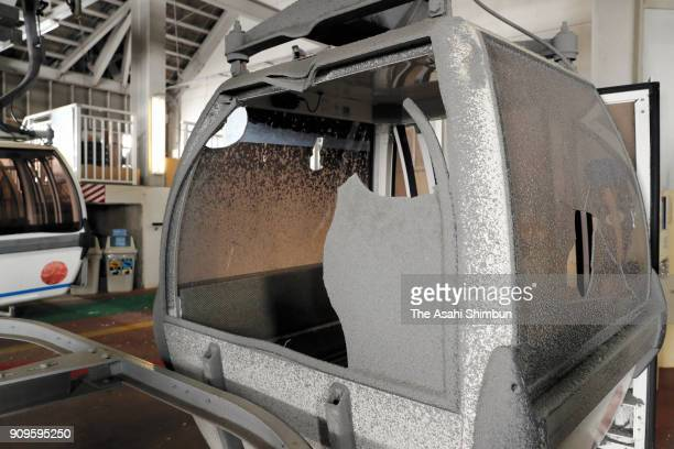 A damaged cable car gondola by the eruption is seen at the Kusatsu Kokusai Ski Resort on January 24 2018 in Kusatsu Gunma Japan An eruption at Mount...