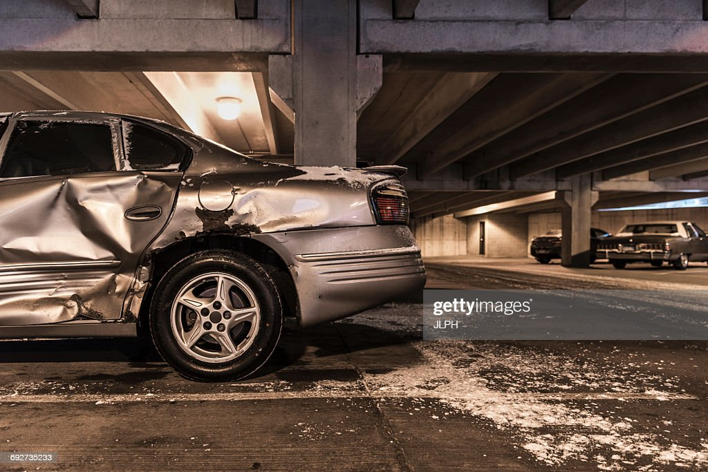 Damaged Car In Underground Parking Lot High Res Stock Photo Getty Images