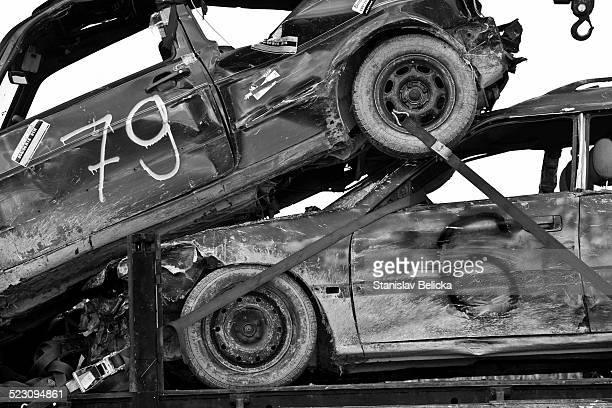 Damaged cars after autocross in Moosbeuren, Baden-Wuerttemberg, Germany, Europe