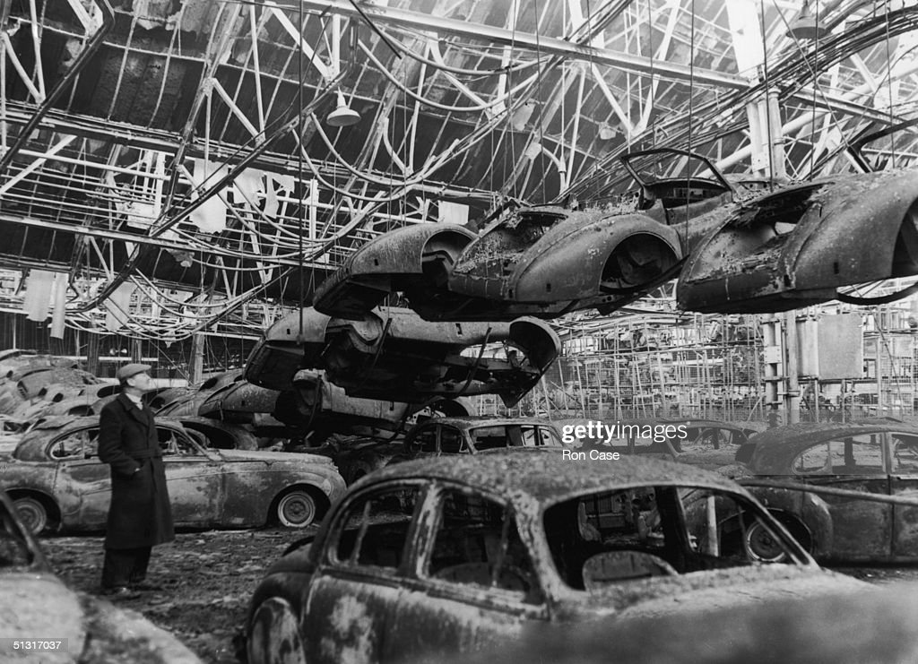 Damaged Cars In A Burned Out Corner Of The Assembly Line After A Fire At The
