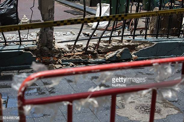 Damaged caused by the bomb of the Erawan Shrine wall, in Bangkok, Thailand, on August 18, 2015. The death toll as risen to more then 21 with 123...
