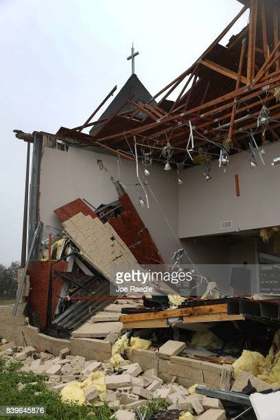 A damaged church is seen after Hurricane Harvey passed through on August 26 2017 in Rockport Texas Harvey made landfall shortly after 11 pm Friday...