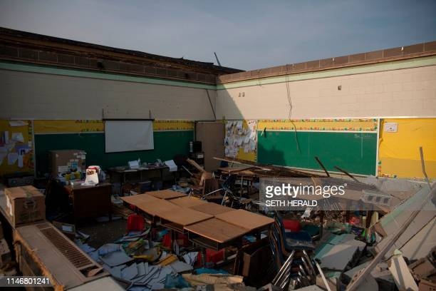 TOPSHOT A damaged class room of a school is seen in Dayton Ohio on May 28 after powerful tornadoes ripped through the US state overnight causing at...
