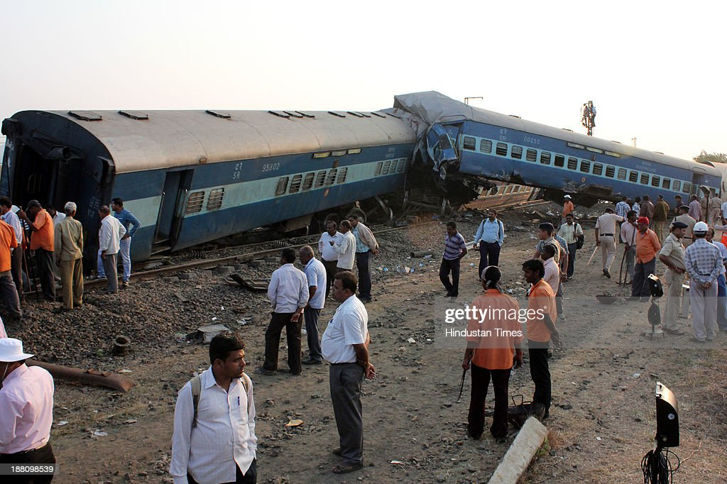 Damaged coaches of the Nizamuddin - Ernakulam Lakshadweep - Mangala Express (Train No 12618), which derailed at Ghoti near Igatpuri in Nashik district of Maharashtra on November 15, 2013 in Nashik, India. Three passengers were killed and 50 others injured after 10 coaches of the Mangala Express derailed between Ghoti and Igatpuri stations. Many trains were cancelled, terminated or diverted due to the accident. Special arrangements were made by the railway authorities to take the rescued passengers from the site of the accident to Kasara and Igatpuri.