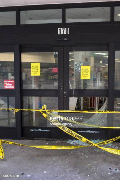 A damaged CVS shop in downtown Miami is seen after Hurricane Irma passed through the area in Miami Florida USA on September 11 2017