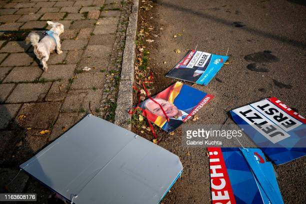 Damaged election posters of the Afd party during the Unteilbar march against racism exclusion and exploitation and for an open society on August 24...