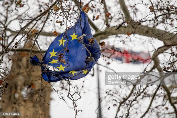 Damaged EU flag hangs in a tree in front of the Houses of Parliament on December 13, 2019 in London, England. British Prime Minister Boris Johnson...