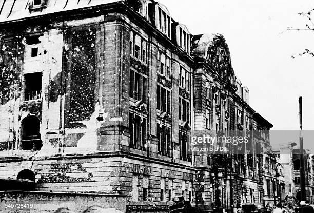 Damaged former Gestapo headquarters in PrinzAlbrechtStrasse 8 in Berlin