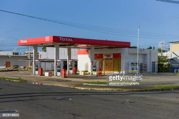 Damaged gas station
