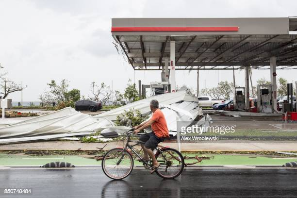 A damaged gas station the day after Hurricane Maria made landfall on September 21 2017 in San Juan Puerto Rico The majority of the island has lost...