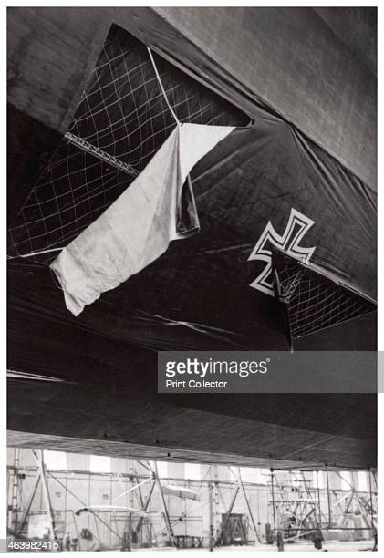 Damaged German navy Zeppelin airship World War I 19141918 Zeppelins were used by both the German Army and Navy during World War I for reconnaissance...