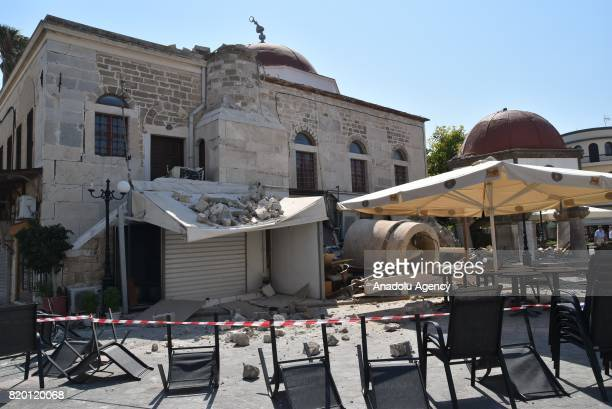 Damaged Historical Ottoman era Defterdar Ibrahim Pasa Mosque its minaret totally collapsed is seen after a 66magnitude richter scale earthquake in...