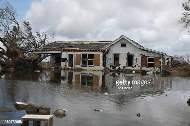 Damaged home is seen on August 29, 2020 in Creole, Louisiana. Hurricane Laura made landfall on August 27th, bringing rain and high winds to the...
