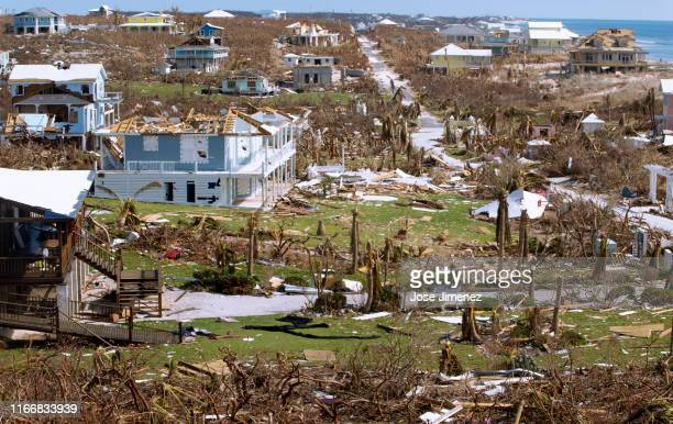 Damaged homes after hurricane Dorian devastated Elbow Key Island on September 8, 2019 in Hope Town, Bahamas. Hurricane Dorian hit the island chain as...