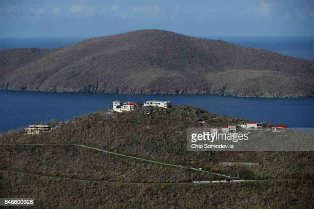 Damaged homes and denuded trees fill the landscape of the Peterborg peninsula one week after Hurricane Irma made landfall September 17 2017 in...