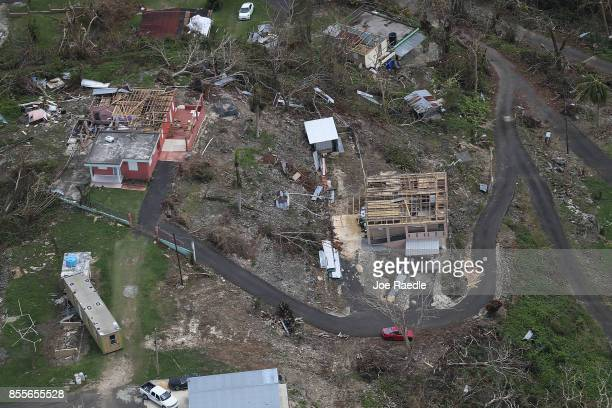 Damaged homes are seen as people deal with the aftermath of Hurricane Maria on September 29, 2017 in Camuy, Puerto Rico. Puerto Rico experienced...