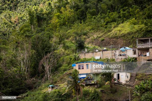 Damaged homes from hurricane Maria in Comerío PR on March 1 2017 The town located in the mountainous area of the island it is still mostly without...