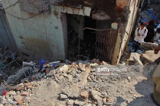 Damaged house a day after building collapse at Nai Basti Bhiwandi on November 25 2017 in Mumbai India Three people were killed and several others...