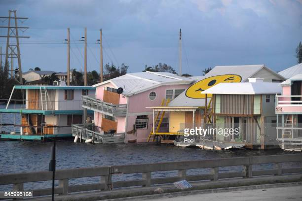 Damaged house boats are shown in the aftermath of Hurricane Irma on September 11 2017 in Key West Florida
