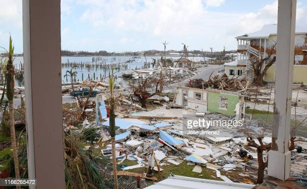 Damaged houses and debris is seen on devastated Great Abaco Island on September 6, 2019 in the Bahamas. Hurricane Dorian hit the island chain as a...