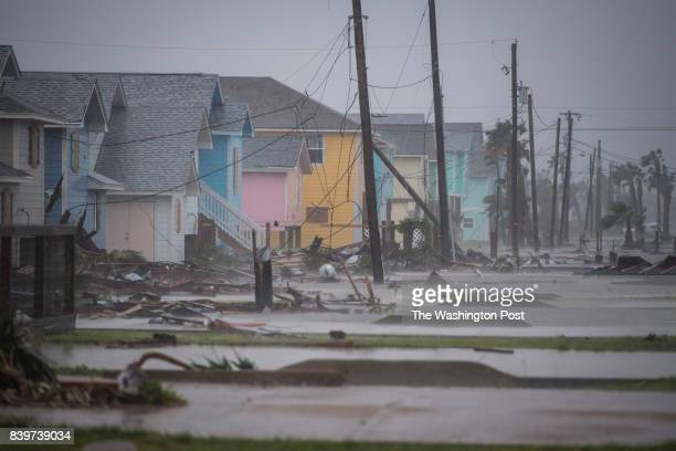 Damaged houses and flooding are seen in Rockport TX as Hurricane Harvey hits the Texas coast on Saturday Aug 26 2017