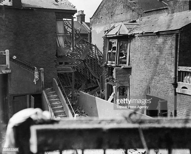 Damaged houses in Leyton east London after a zeppelin bombing raid February 1916