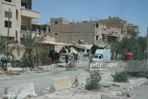 Damaged houses stand along a road in the Syrian desert town of Palmyra Syria 5 May 2016 Syrian troops have recaptured the city from the Islamic State...