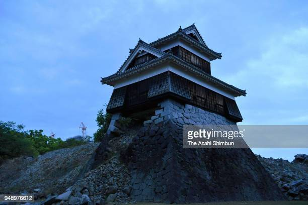 Damaged Kumamoto castle is seen on the second anniversary of the Kumamoto Earthquakes on April 14 2018 in Kumamoto Japan The first of the two big...
