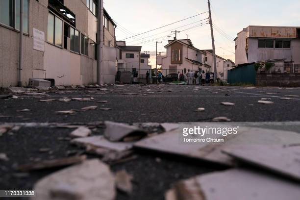 A damaged parking lot is seen following the passage of Typhoon Faxai on September 09 2019 in Ichihara Japan The powerful typhoon hit the Kanto region...
