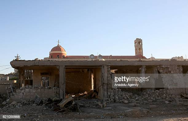 Damaged parts of AlTahira Church is seenwhich was damaged by Daesh terrorists after the Hamdaniya District rescued during the operation to retake...