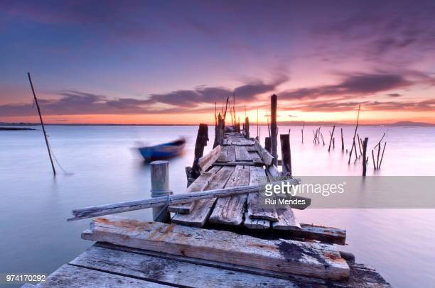Damaged pier at sunset, Alcacer do Sal, Carrasqueira, Portugal