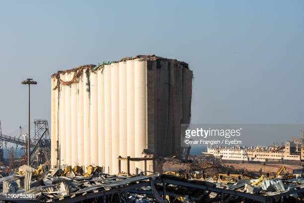 damaged port silos after the explosion - beirut stock pictures, royalty-free photos & images