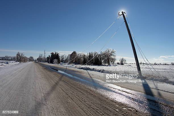 Damaged powerlines fallen as a result of an ice storm