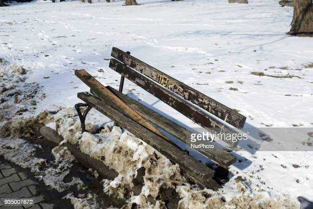 A damaged public bench is seen near Pilsudski Square in Warsaw Poland on March 17 2018