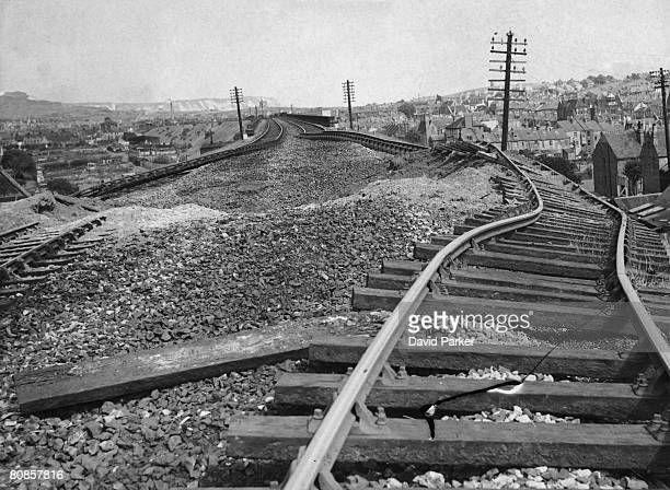 Damaged railway tracks after a German air raid on Folkestone Kent 26th August 1940