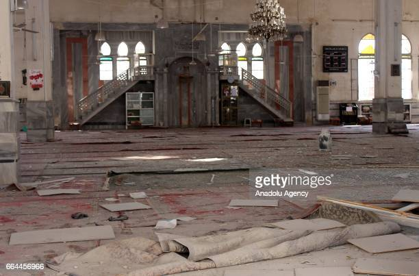 Damaged Ravda Mosque is seen after Russian warcrafts allegedly carried out airstrikes at Ravda Mosque and market in Salkin town of Idlib Syria on...