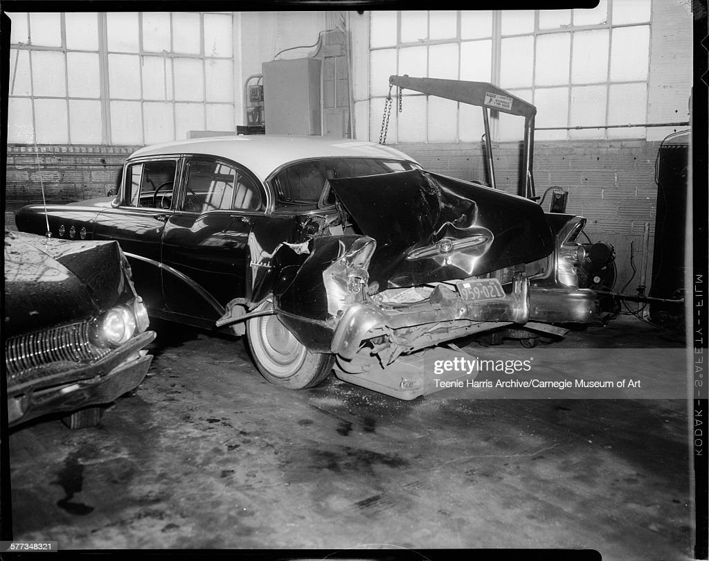 Damaged Rear End Of Buick Car With 1958 Pennsylvania License Plate