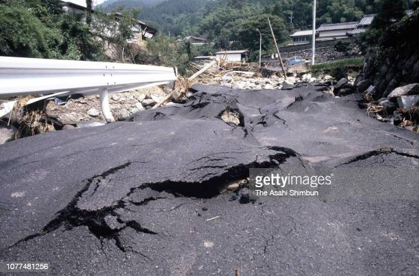 Damaged road by a landslide is seen after Typhoon Bess hits across Japan on August 4, 1982 in Ureshino, Mie, Japan.