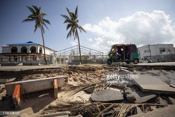 Damaged road is seen following the Cyclone Idai in Sofala region in Beira Mozambique on March 31 2019 Cyclone Idai made landfall in Beira on March 14...