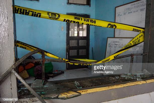 A damaged room is seen after inmates escaped from the Class IIA Penitentiary in Lambaro Aceh Besar Aceh Indonesia on November 30 2018 At least 113...