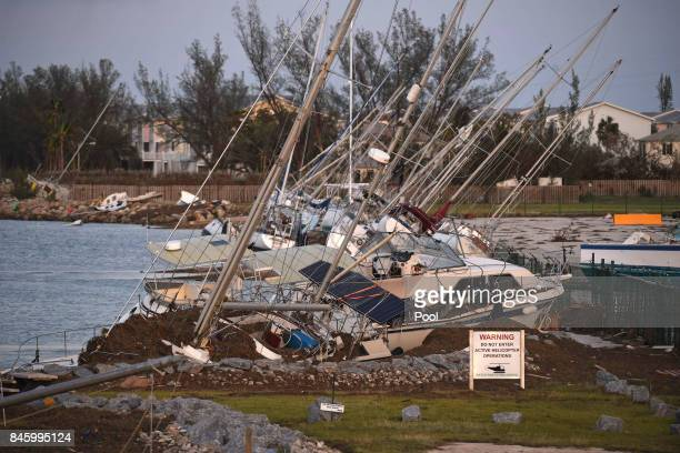 Damaged sail boats are shown in the aftermath of Hurricane Irma on September 11 2017 in Key West Florida
