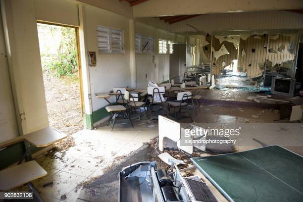damaged school - 2017 hurricane maria stock pictures, royalty-free photos & images