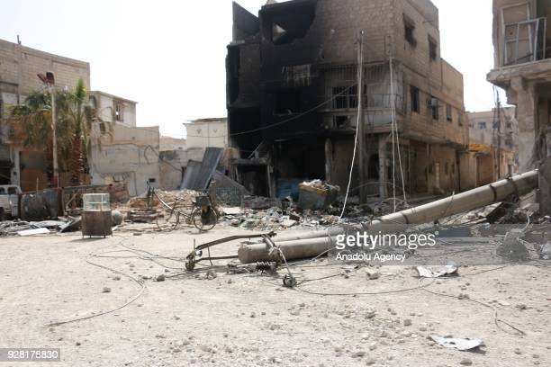 A damaged site is seen after Assad Regime's attacks over Jesrin town of the Eastern Ghouta region of Damascus in Syria on March 06 2018 It is...